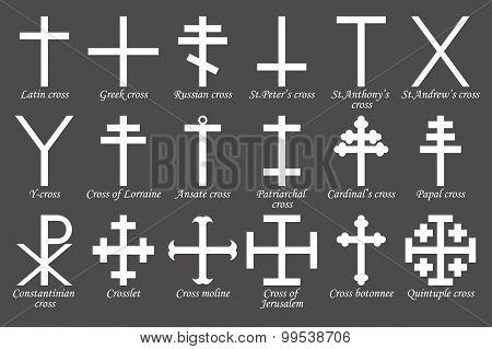 Set of crosses. Vector illustration
