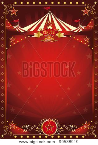 Fun red circus poster. A circus background with a large copy space and a big top for your message.