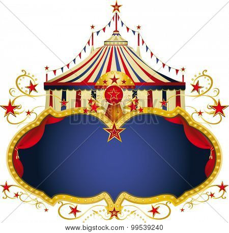 Magic circus blue frame. A circus frame with a big top and a large copy space for your message.