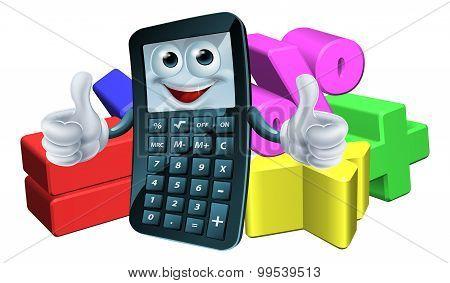 Calculator Man And Math Symbols