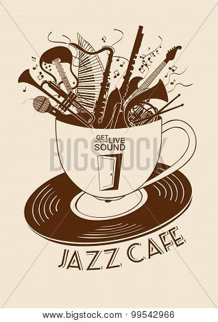 Jazz Cafe Concept With Musical Instruments In A Cup.