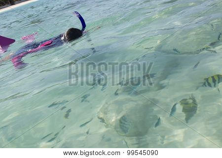 Asian girl snorkelling and looking at fish
