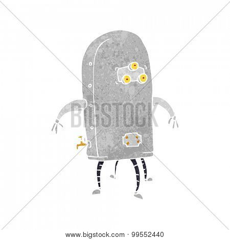 retro cartoon funny robot