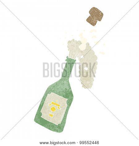 retro cartoon champagne popping