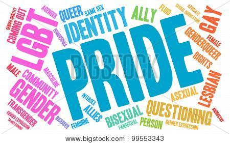 Pride word cloud on a white background. poster