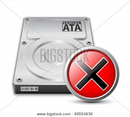 Vector Hard Disk Drive Icon With Breakdown Sign