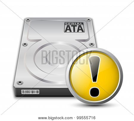 Vector Hard Disk Drive Icon With Warning Sign