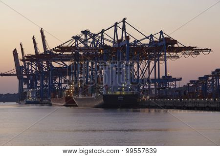 Hamburg Waltershof - Container Vessel Is Loaded And Unloaded At Burchardkai