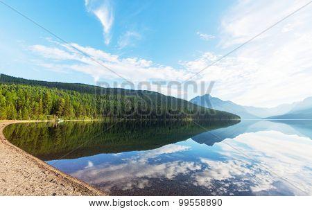 Serenity Bowman lake,Glacier National Park, Montana, USA poster