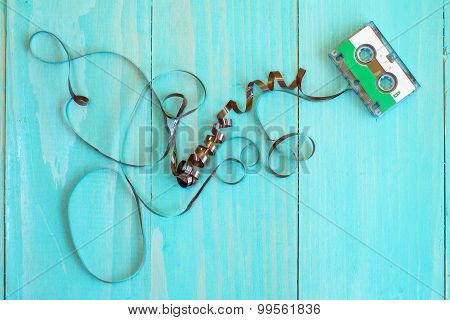 Audio Cassette The Painted Wood Background