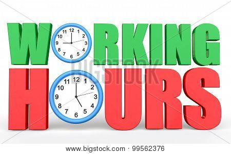 3d Working hours text with clocks