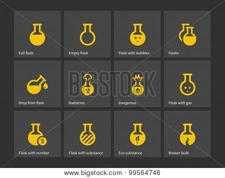 Laboratory flask icons.