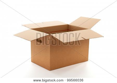 Open carton box isolated over white background