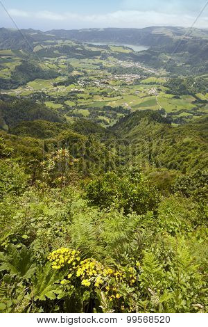 Azores Landscape With Furnas Lake And Village From Salto Cavalo