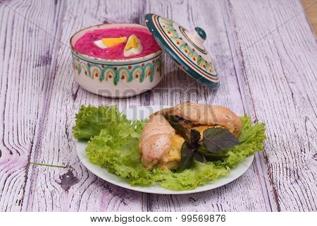 Chicken Breast Baked With Cheese, A Beetroot Soup And Greens
