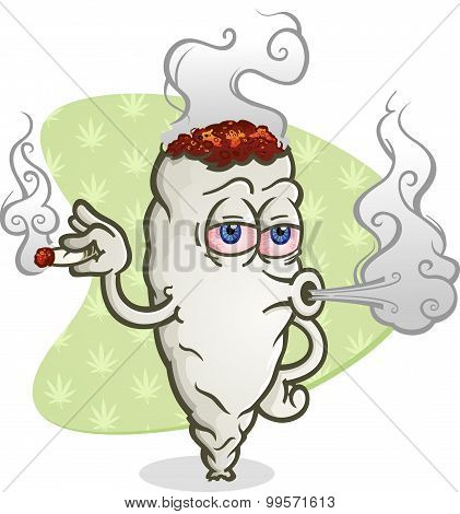 Marijuana Blowing Smoke Cartoon Character