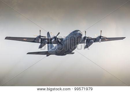 Radom, Poland - August 23: Polish Air Force Lockheed C-130E Hercules (l-382) At Air Show Radom 2015