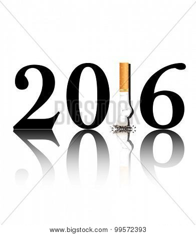 New Year's resolution Quit Smoking concept with the 1 in 2016 being replaced by a stubbed out cigarette. EPS10 vector format.