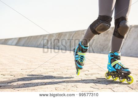 Close up view of inline skates skating at promenade