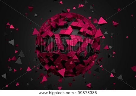 Abstract 3D Rendering of Low Poly Sphere.