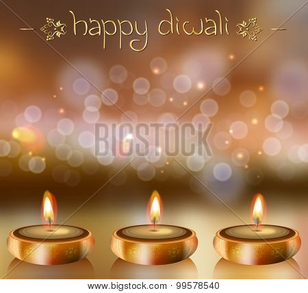 Happy Diwali Vector Background With Festive Candles