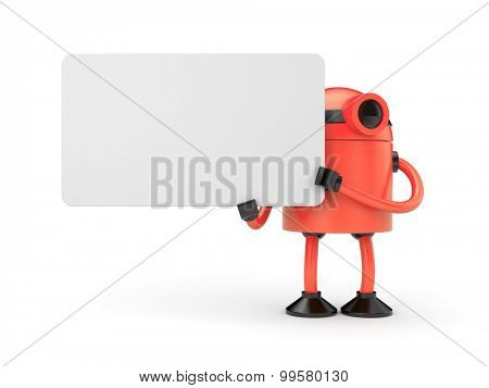 Red robot businessman holding a empty sign