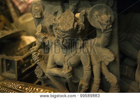 Antique Statue of Goddess Kali Ma on Chor Bazaar - Antique Indian Thieves Market Mumbai poster