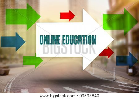 The word online education and arrows against new york street