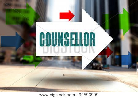 The word counsellor and arrows against new york street