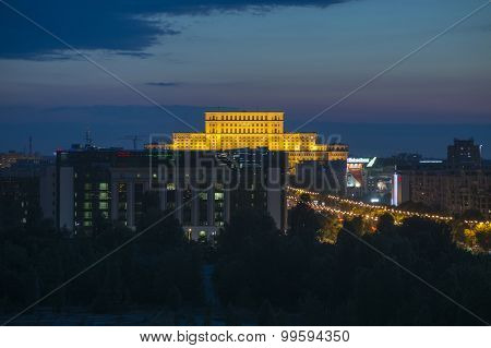 Aerial view of the House of Parliament in Bucharest