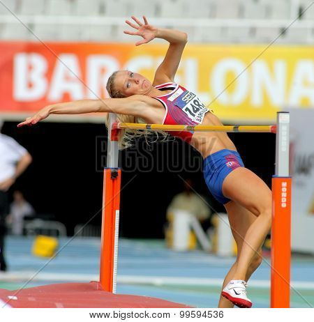 BARCELONA - JUNE, 13: Anne Engen Andersen of Norway jumping on Hight jump event of of the 20th World Junior Athletics Championships at the Olympic Stadium on July 13, 2012 in Barcelona, Spain