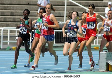 BARCELONA - JUNE, 13: Competitors on 1500m women envent during the 20th World Junior Athletics Championships at the Olympic Stadium on July 13, 2012 in Barcelona, Spain