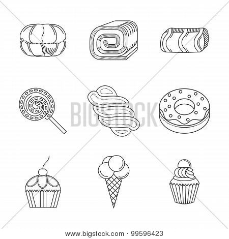 Linear vector icons for desserts