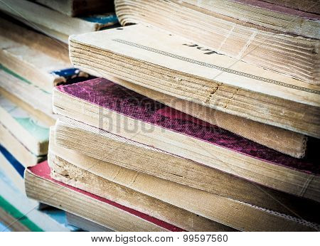 Closeup of Old Paperback Books