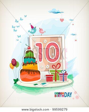 Tenth Birthday Card. Birthday Cake And Photos