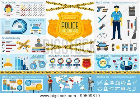 Set of Police work Infographic elements with icons, different charts, rates etc. With places for you
