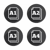 Paper size standard icons. Document symbols. A1, A2, A3 and A4 page signs. Circles buttons with long flat shadow. Vector poster