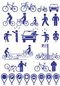 Vector set pictograms bicycle infrastructure icons. Vector bike accessories set poster