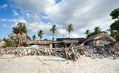 traditional indonesian poor house - shack on beach Nusa Penida Island Toyapakeh. Bali. poster