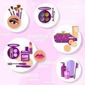 Flat set makeup products mascara eyebrow pencil brushes eyeshadow lipstick lip gloss lip liner eyeliner sponge powder blush vector illustration poster