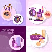 Cosmetics set makeup beautiful female eye eyeshadow eyelashes lip liner lipstick mascara professional glamorous make-up vector icons poster