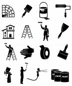House painter icons set in black vector illustration. poster