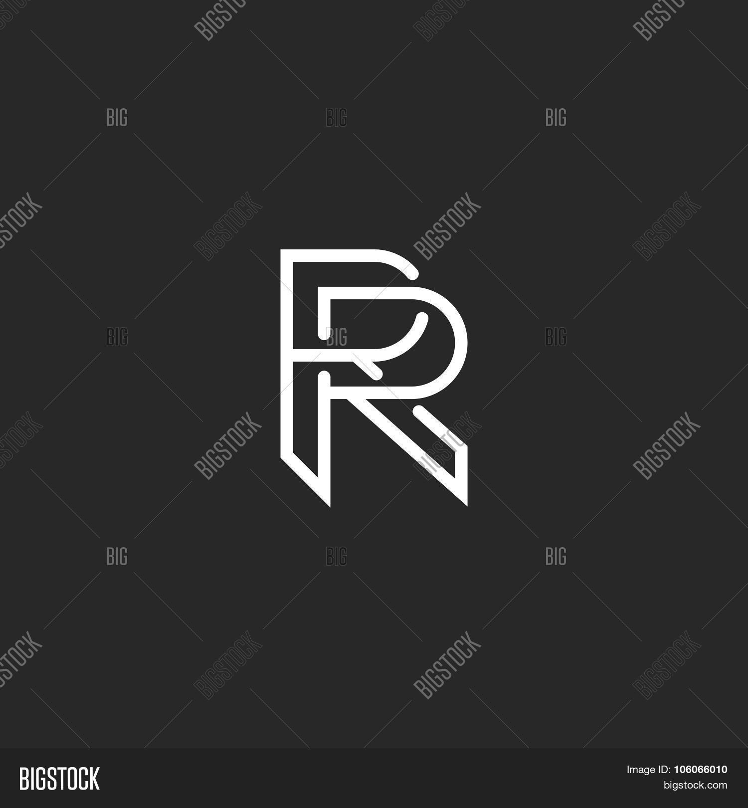 letter r logo monogram mockup hipster black and white design element wedding invitation template