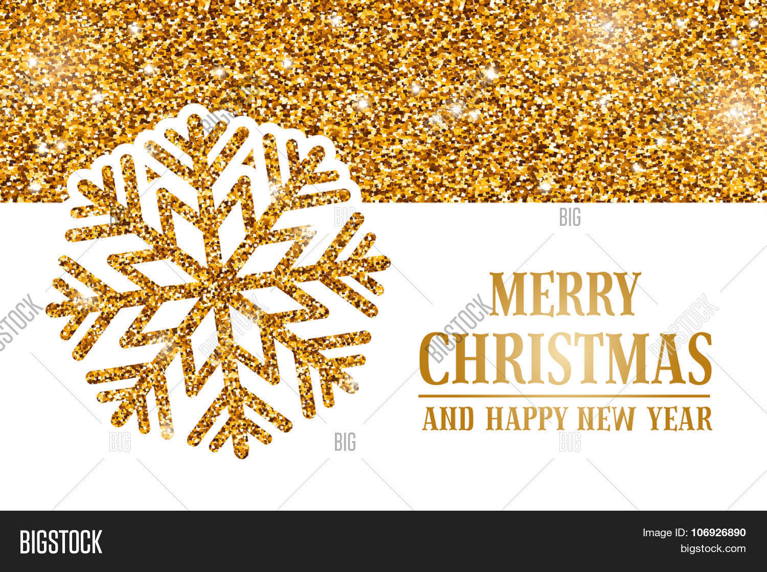 luxury christmas and new year greeting card with golden glitter texture space for your text
