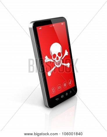 3D smartphone with a pirate symbol on screen. Hacking concept poster
