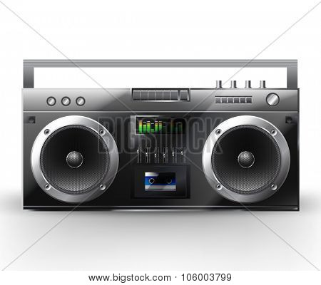 Stereo system. Vector illustration of a  music center. Boombox