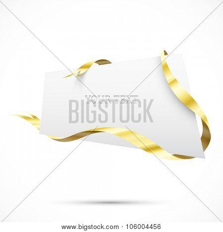 Realistic sale tag. Gold ribbon