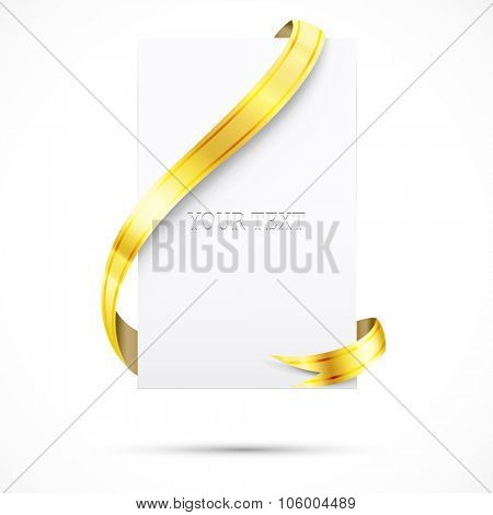 realistic blank paper and gold ribbon