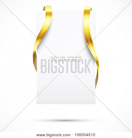 Blank promo tag with gold ribbon