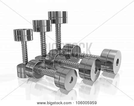 Row Of Pairs Of Steel Dumbbell In Different Size